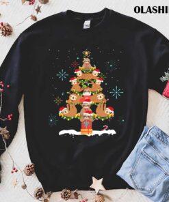 Funny Sloth Christmas Tree Pajama Matching Costume T Shirt Best Sale