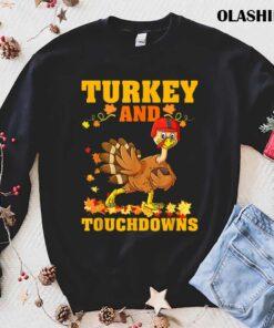 Funny Thanksgiving Turkey And Touchdowns Kid Men Women T Shirt Best Sale