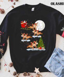 Funny Xmas Lighting Tree Santa Riding Mule Christmas T Shirt Best Sale